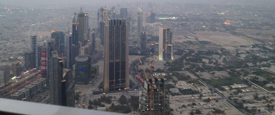 Blick auf die Hotels in Dubai
