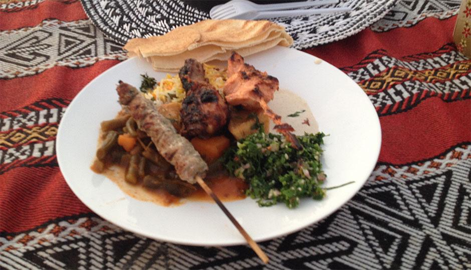 Essen während der Wüstensafari