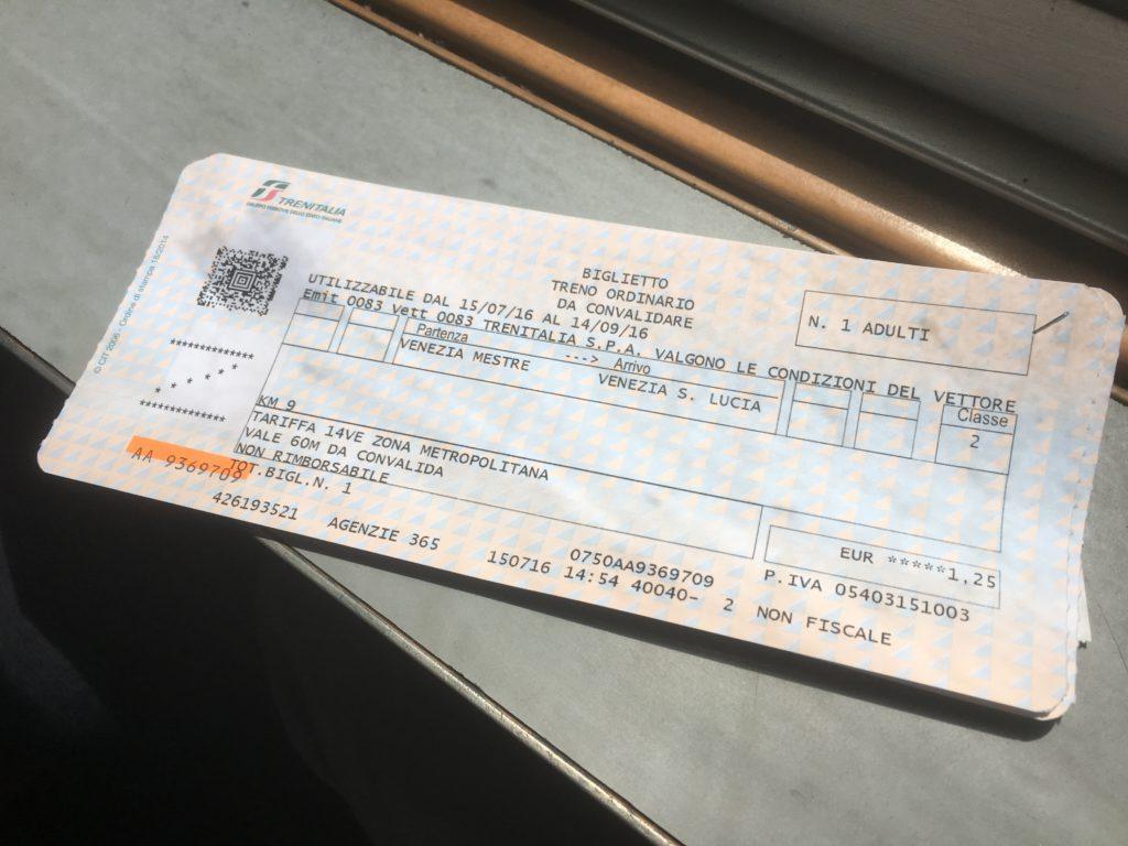 Zugticket von Meste nach Venedig (Santa Lucia)