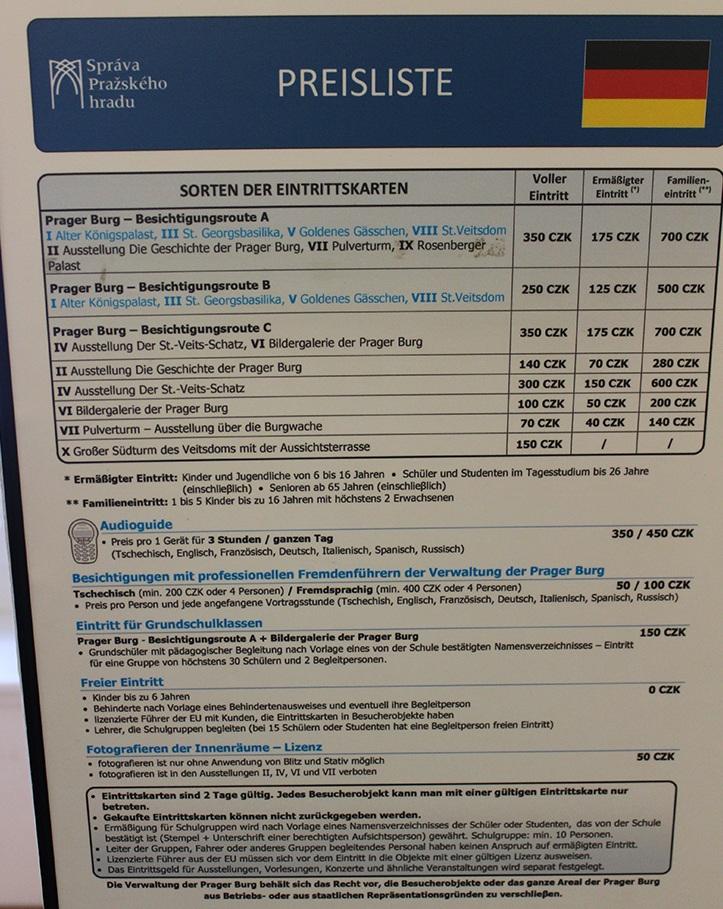 Veitsdom in Prag - Eintrittspreise