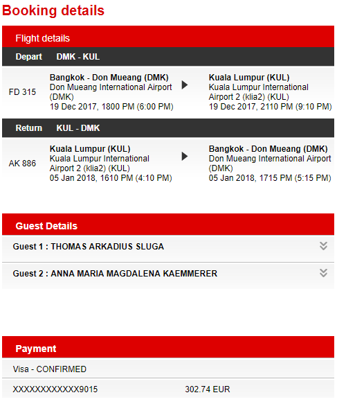 Flug von Bangkok nach Kuala Lumpur