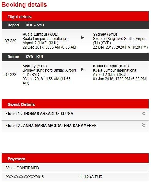 Flug von Kuala Lumpur nach Sydney