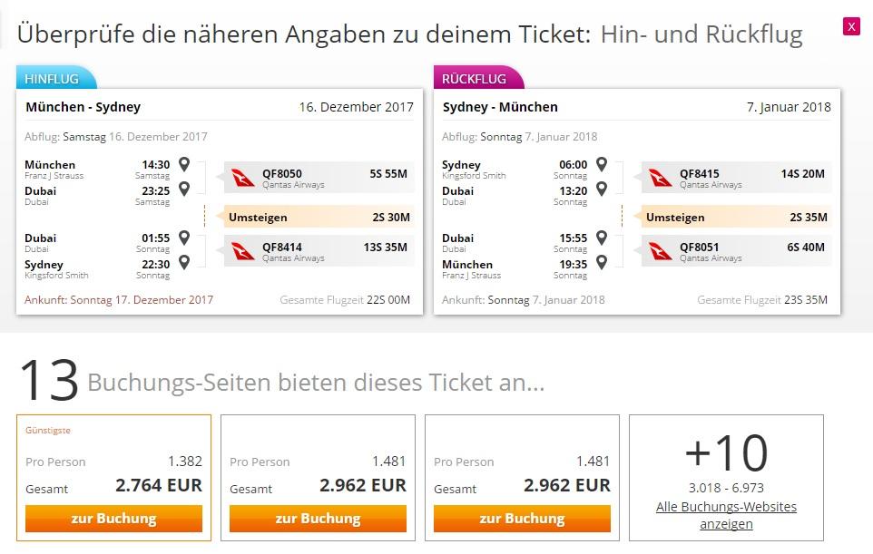 Flugpreis - München nach Sydney