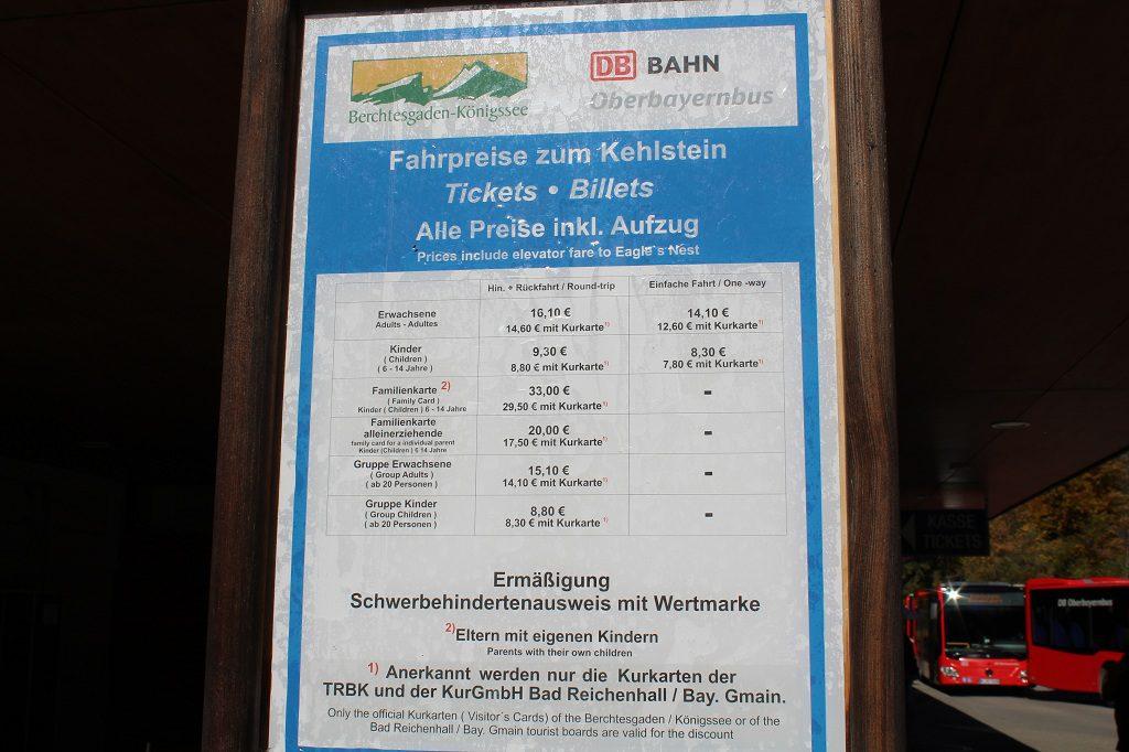 Kehlsteinhaus Preise